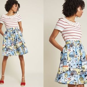 ModCloth skirt in Village print with pockets
